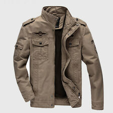 Men's Casual Air Force Military Jacket Washed Stand Collar Coat Tactical Outwear