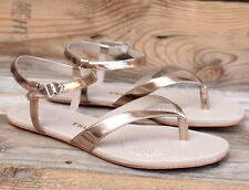 Tsubo Womens Bellah Light Gold Leather Patent Strappy Sandal US 7.5 UK 6 EU 38.5