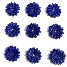Natural Lapis Carved Flower 12mm A,  2 PC- New DIY Bead for Design Wholesale
