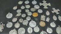 VINTAGE RELIGIOUS HOLY SAINT MEDAL LOT VARIOUS PIECES LOT OF 45 SAINT MEDALS