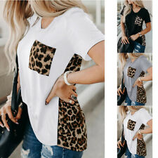 Women Summer Short Sleeve V Neck T Shirt Loose Leopard print Casual Tops Blouse