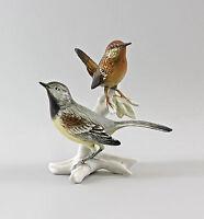 9997588 Porzellan Vogelgruppe Gebirgsstelze Zaunkönig ENS H17cm
