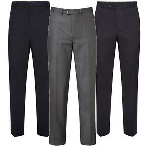 Mens Formal Work Trousers Office Business Smart Casual Suit Pants Belt Pocket