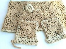 Set of Crochet silk scarf -snud  and mittens