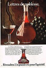 PUBLICITE ADVERTISING 064  1980  RIVESALTES vin apéritif LETTRES DE NOBLESSE