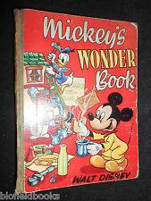 Mickey's Wonder Book by Walt Disney c1950 Vintage Disneyana Children's Book