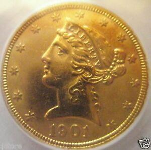 1901-S $5 HALF EAGLE Gold LIBERTY HEAD Selected CHOICE