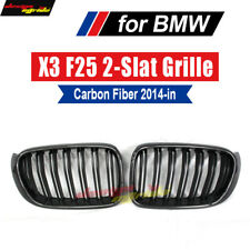 Grill for BMW X3 F25 Carbon Front Grille Glossy Black Dual Slat Grills 2014-2018