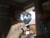 Led crystal medium round etched heavy weight liquor wine bottle topper stopper