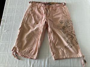 "Z Brand Women's Sz 28"" Bermuda Capri Shorts Peach Embroidered TS1 CS1"