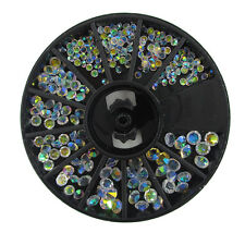 2/3/4mm 3D Round AB Rhinestone Crystal Glitter Bead Pearl Wheel Nail Art Tips