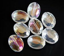 10pcs 9x12 Faceted Oblong Finding Cut Glass Crystal Loose Spacer Oval Beads