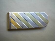 VINTAGE TWO TONE HALLMARKED STERLING SILVER TIE PIN / MONEY CLIP