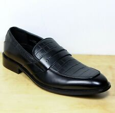 d6fd7dfb7 M&S Croc Print REAL LEATHER Smart Slip-On LOAFERS SHOES ~ Size 10 ~ BLACK