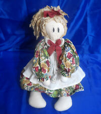 Vtg Cloth Rag Doll Wearing Floral Dress & Kitchen Apron 29""