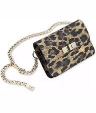 Steve Madden Bobby Belt Bag Leopard Black Fanny Pack Medium Large Gold Chain