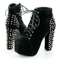 Sexy Lady Stara Spike Stud Lace Up Ankle Booties Chunky Platform High Heel Boots