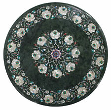"18"" Green marble table semi precious stones inlay pietradura art"