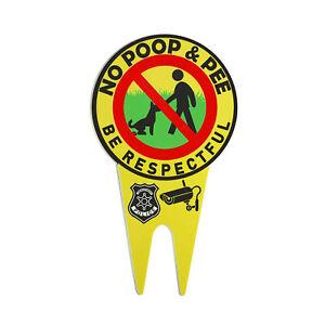No Dog Poop&Pee Signs Luminous Lawn Yard Be Respectful Garden Stake Warning US