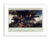 WAR WWII USA COURAGE INFANTRY GUN Military Canvas art Prints