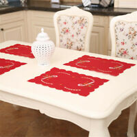Embroidered Hollow Out Fork Placemat Mat Decor Home Party Christmas Dining Table