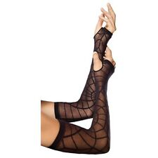 Spider Web Arm Warmers Costume Gloves Adult Womens Halloween Fancy Dress