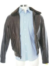 Michael Kors Faux Leather Shearling Mens Brown Bomber Jacket Size Medium M
