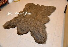 5' Grizzly Cali Bearskin Fur Area Rugs Christmas Winter Cabin Rug