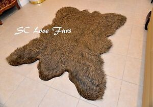 5' Grizzly Cali Bearskin Faux Fur Area Rug Christmas Special   Cabin Decor