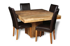 DAKOTA LIGHT MANGO DINING TABLE & 4 LEATHER CHAIRS (CHOOSE FROM 2 STYLES) (32L)