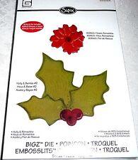 Sizzix BIGZ Craft Die #658184 HOLLY & BERRIES #2 + Bonus Die Flower, Poinsettia