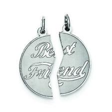 .925 Sterling Silver 2-Piece Best Friend Disc Charm Pendant MSRP $79