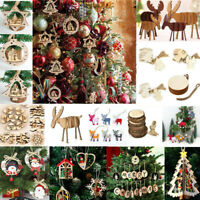 DIY 3D Xmas Tree Wooden Pendants Hanging Christmas Decoration Home Party Decor