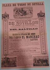 ANTIGUO CARTEL PLAZA DE TOROS DE SEVILLA 1886 CON PASPARTU  50x36 Centimetros