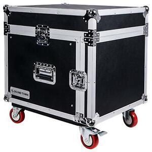 Sound Town 8U PA DJ Rack Road Case w/ 13U Slant Mixer Top Casters (STMR-8UW)