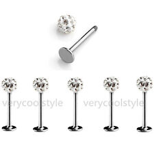 5pc Lots 16g Steel Clear Czech Crystal Chin Labret Lip Ring Studs Bars Piercing
