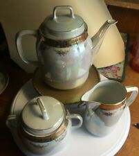 Iridescent Luster Gold Trim Tea Set 15 pieces Germany Mark