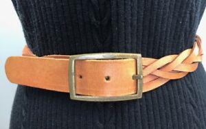 Vintage Brown plaited Leather BELT rectangular brass buckle full grain cow hide