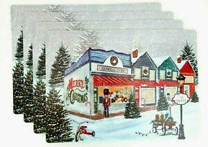 "Christmas Village Placemats Nutcracker Shops Vinyl Foam Back Set of 4 18"" x 13"""
