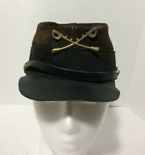 Civil War Brown Suede USA Leather Reenactment Cap M Defects