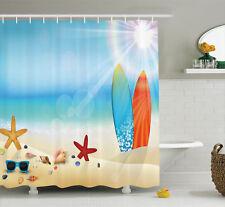 Seashell Nature Beach Theme Surfboard Shades Image Shower Curtain Set Extra Long