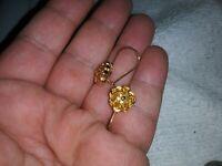 DANECRAFT Vintage Hanging Pierced Earrings Encased Caged Crystals Unused Mint