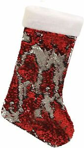"13"" RED SEQUIN STOCKING Filler Hang Sock Christmas Xmas Santa Boot Sack Gift Kid"