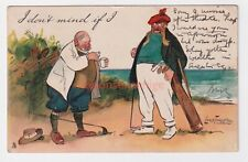 """GOLF """"I DON'T MIND IF I"""" TWO OBESE GOLFERS DRINK DRAM Thackeray Tuck 1909 - Go04"""