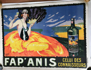Fap'Anis Original 1920 French Lithograph Vintage Poster by Delval Linen Backed