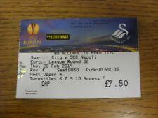20/02/2014: BIGLIETTO Swansea City V NAPOLI [UEFA EUROPA LEAGUE] (luce pieghe).