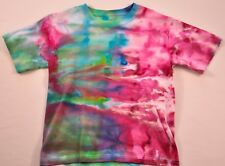 unisex ice dyed colorful tee shirt size medium 10-12 100% cotton blue red  green