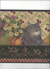 Wallpaper Border Cat Shelf Fruit Crocks Flowers New Arrival Primitive Look Green