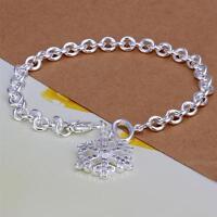 ASAMO Damen Armband mit Anhänger Schneeflocke 925 Sterling Silber plattiert