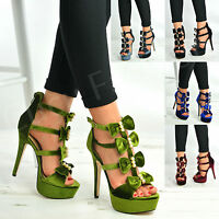 New Womens High Stiletto Sandals Ladies Peep Toe Bow Strappy Platform Shoes Size